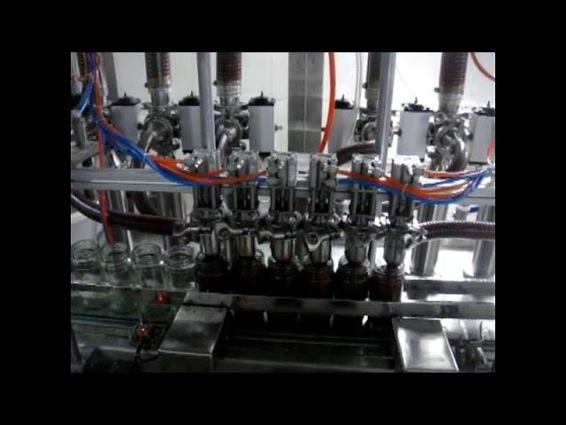 التلقائي الخطي 4 رؤساء زجاجة مكبس صلصة الصلصة آلة تعبئة السائل التعبئة